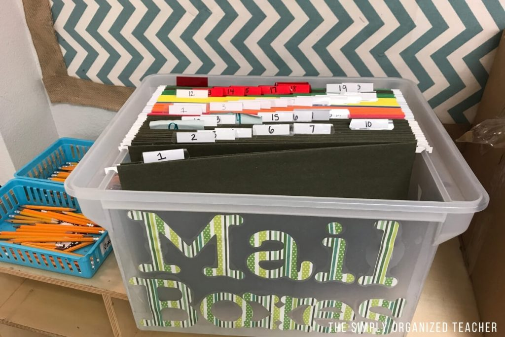 Classroom mailbox inside a plastic container with hanging file folders. Each file folder has a number on it to represent the student\'s roster number.
