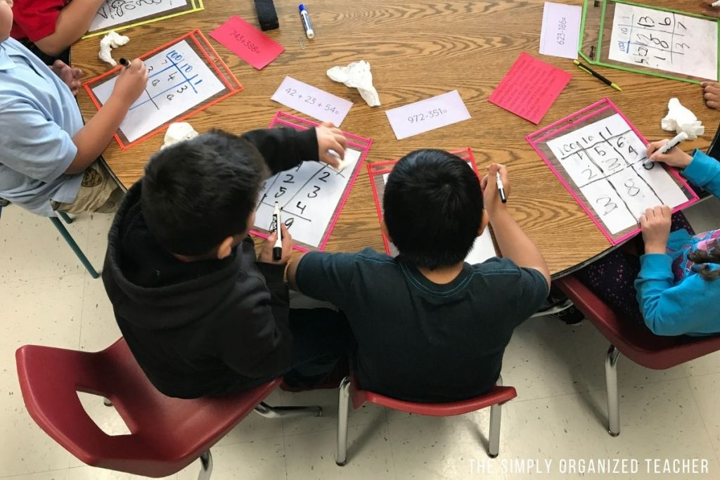 Two students working on a math lesson together.