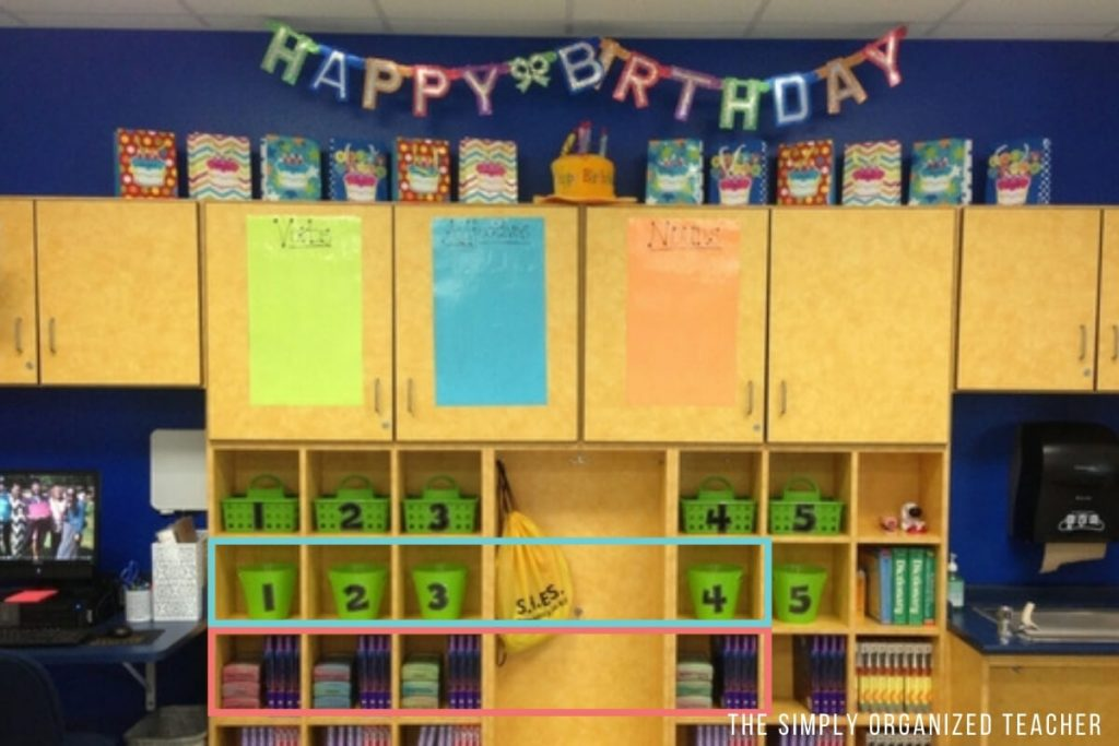 Classroom cubbies organized for team materials.