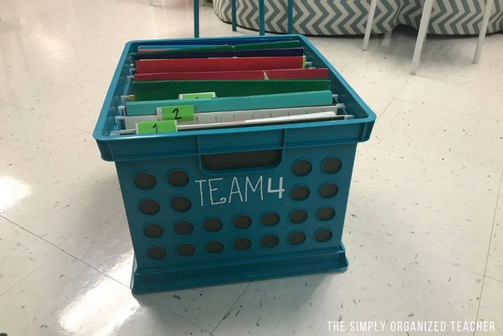 A plastic milk crate used to organize papers.