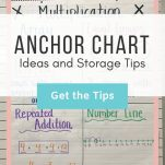 """Math anchor chart. Text overlay: """"Anchor Chart Ideas and Storage Tips"""" Button: """"Get the Tips!"""""""