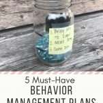 """A marble jar sitting on a wood table. Text overlay """"The Simply Organized Teacher. First-Year Teachers. 5 Must-Have Behavior Management Plans for Elementary Teachers. Learn More"""""""