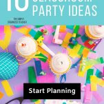 """Purple background with paper confetti, cupcakes, and party blowers. Text overlay """"10 Fun and Guilt Free Classroom Party Ideas. The Simply Organized Teacher. Start Planning"""""""