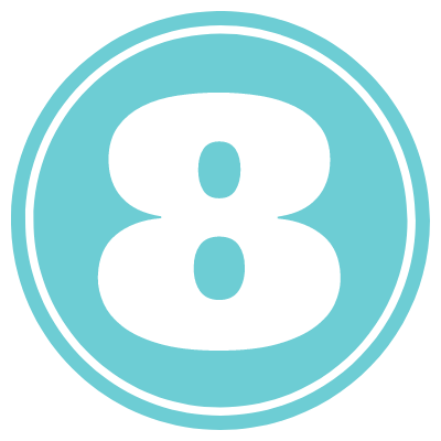 blue circle with number 8