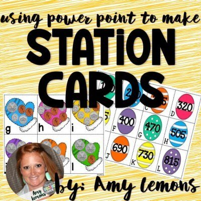 Yellow background with picture of station cards with letters and numbers on them. Using Power Point to make Station Cards by Amy Lemons