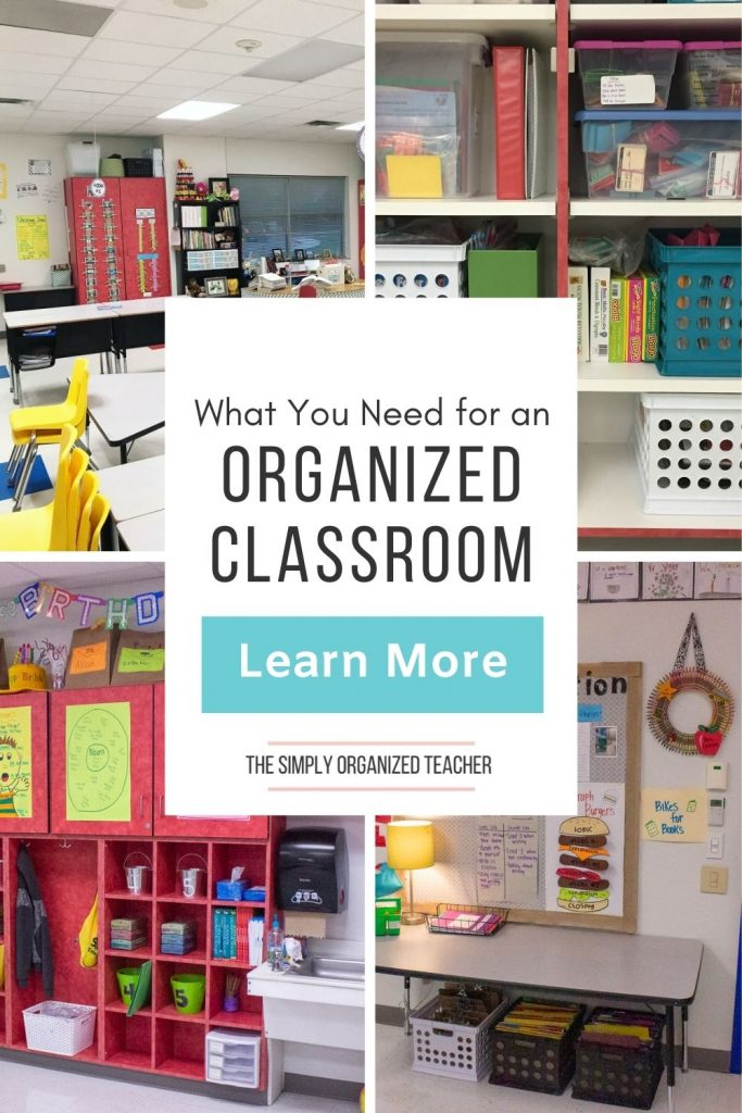 Collage of classroom pictures. Text overlay: What You Need for an Organized Classroom. Button: Learn more