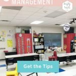 "Classroom with student desks. Text overlay: 3 Tips to Improve Classroom Management. Button: ""Get the Tips"""