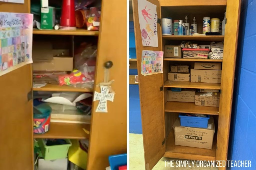 Photo on left: before picture of a craft closet overflowing with materials. Photo on left: after photo of craft closet with materials organized neatly into boxes
