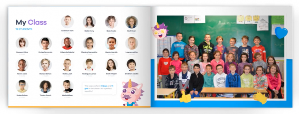An inside look of the Klassly Klassbook parents can purchase with their child's photos and posts from the school year.