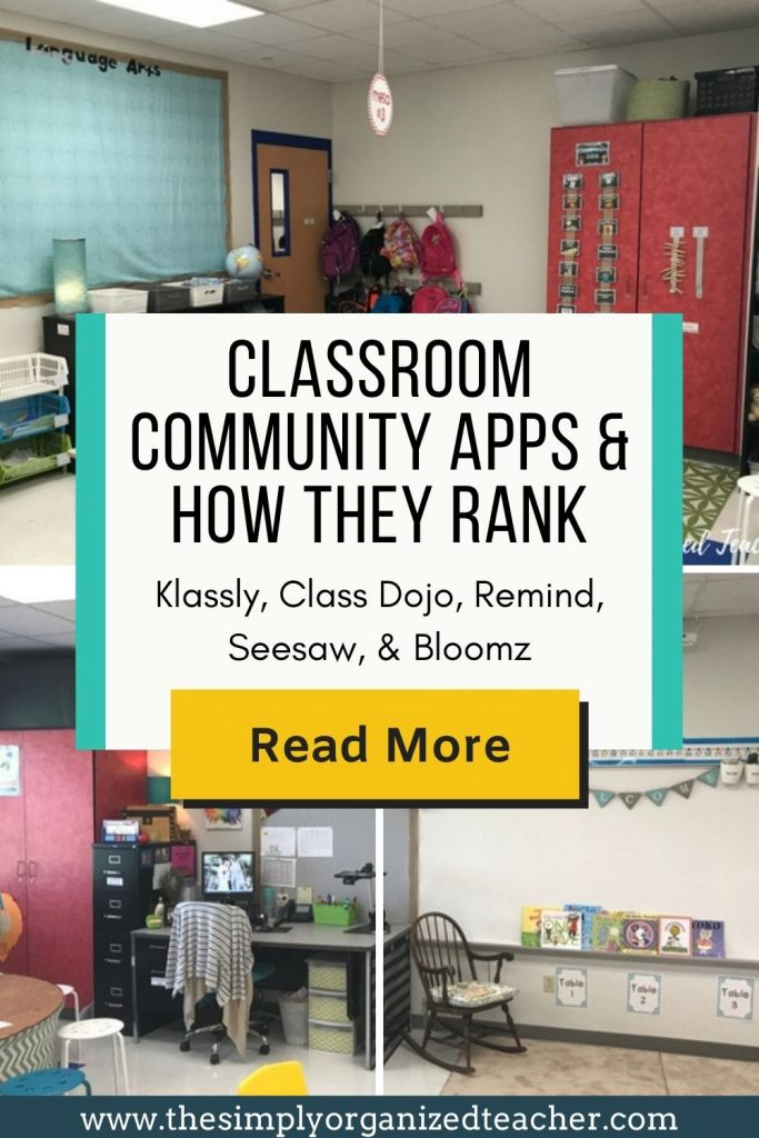 """Collage of classroom photos. Text overlay: """"Classroom Community Apps & How They Rank. Klassly, Class Dojo, Remind, Seesaw, and Bloomz."""