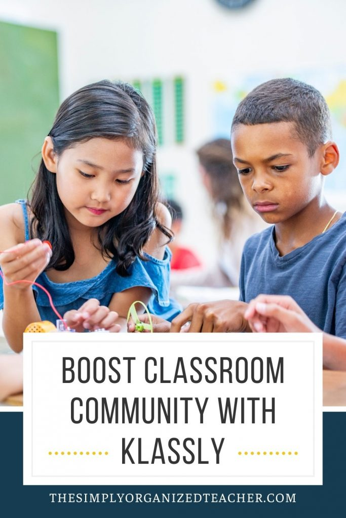 """Two students working together. Text overlay: """"Boost Classroom Community with Klassly"""""""