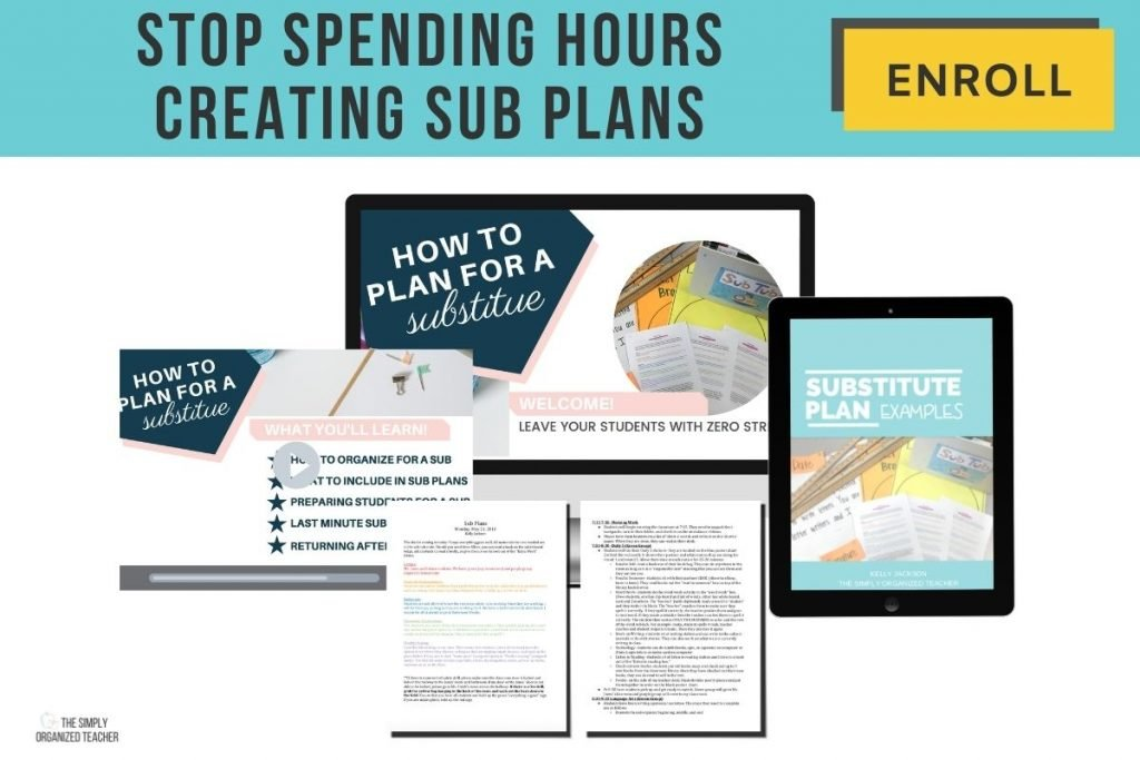"""Mock up of sub planning course materials. Text overlay: """"Stop spending hours creating sub plans"""" Button: """"Enroll"""""""