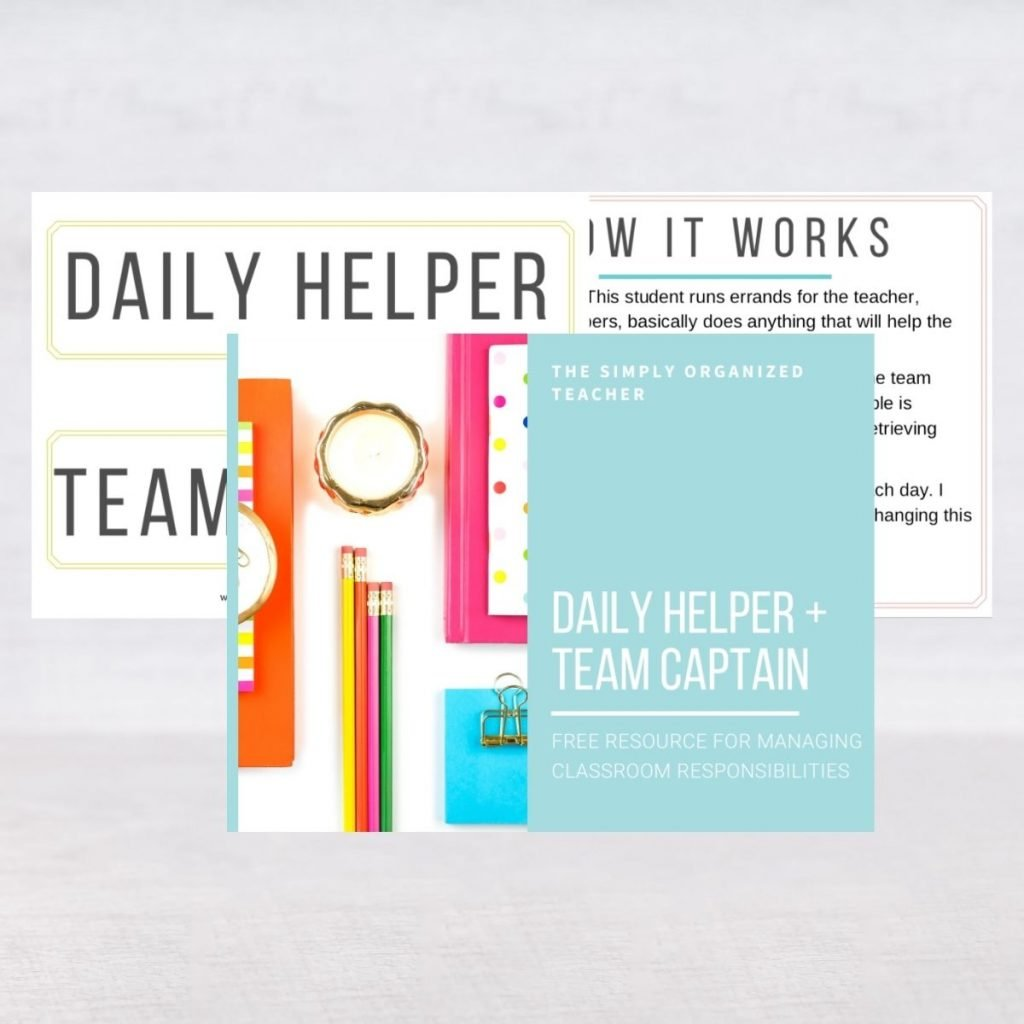 Screenshot of resources in the Daily Helper and Team Captain template