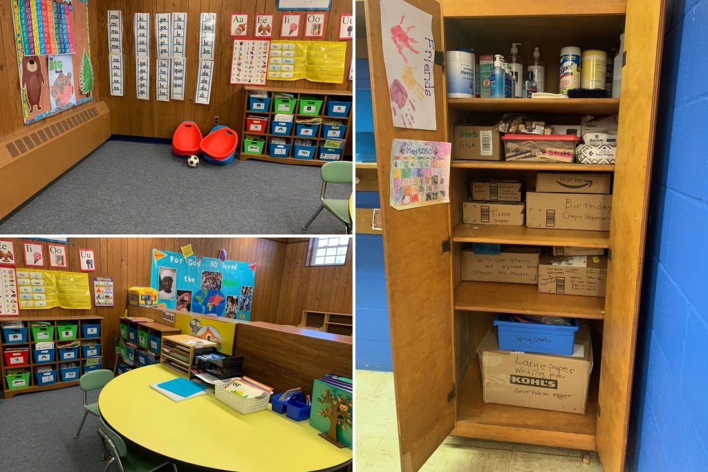 Collage of classroom photos after organizing