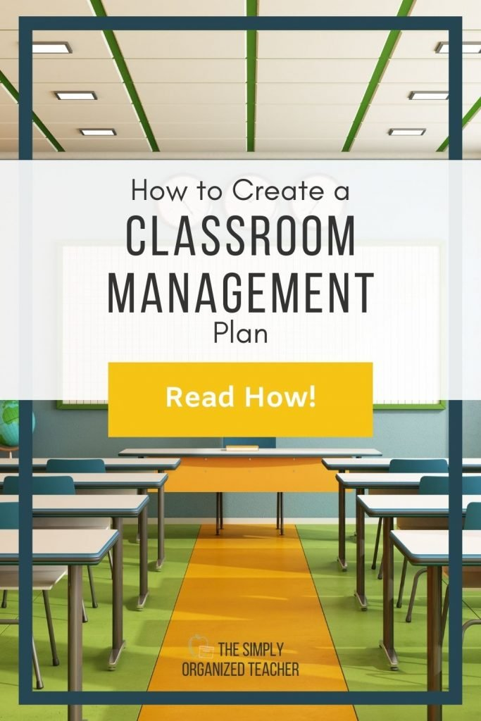 """Photo of classroom. Text overlay: """"How to Create a Classroom Management Plan"""" Button: """"Read How!"""""""
