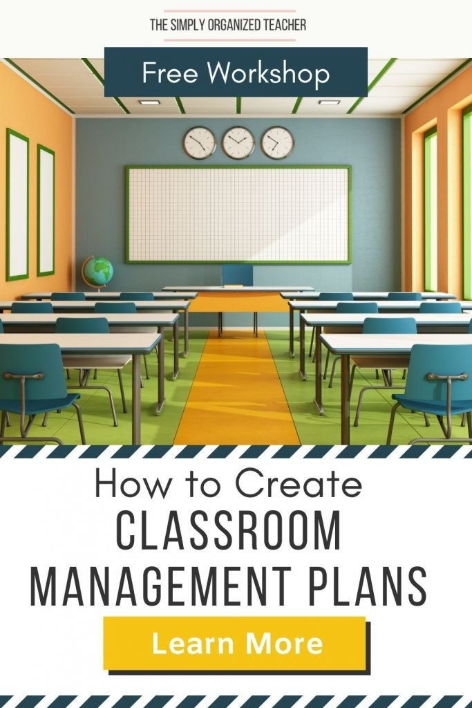 """Photo of classroom. Text overlay: """"How to Create a Classroom Management Plan"""" Button: """"Learn More"""""""