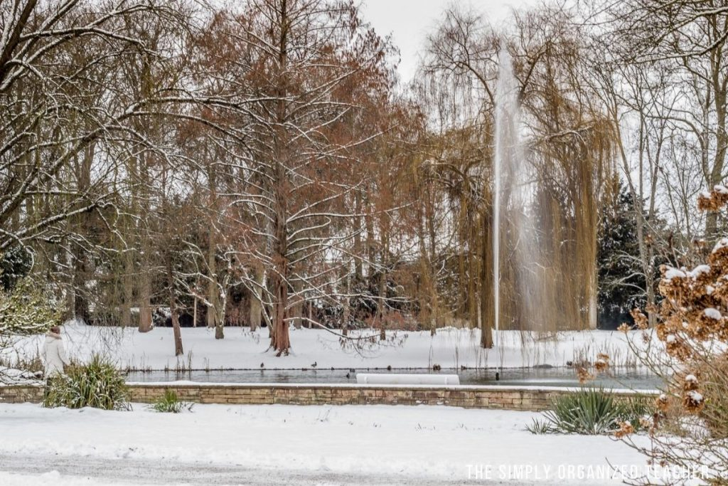 A pond with a waterfall in the middle of a park. The park is covered in snow.