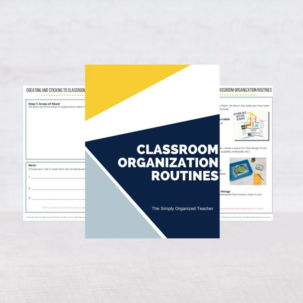 Screenshot of resources in the Classroom Organization Routines Planner