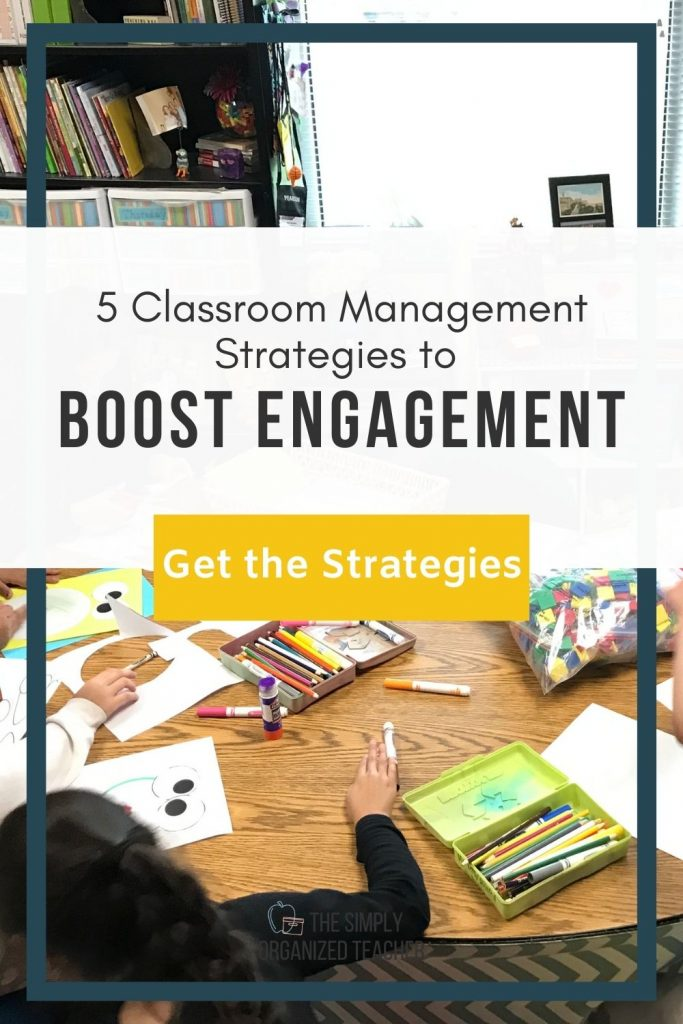 "Students working at a table. Text overlay: ""5 Classroom Management Strategies to Boost Engagement"""