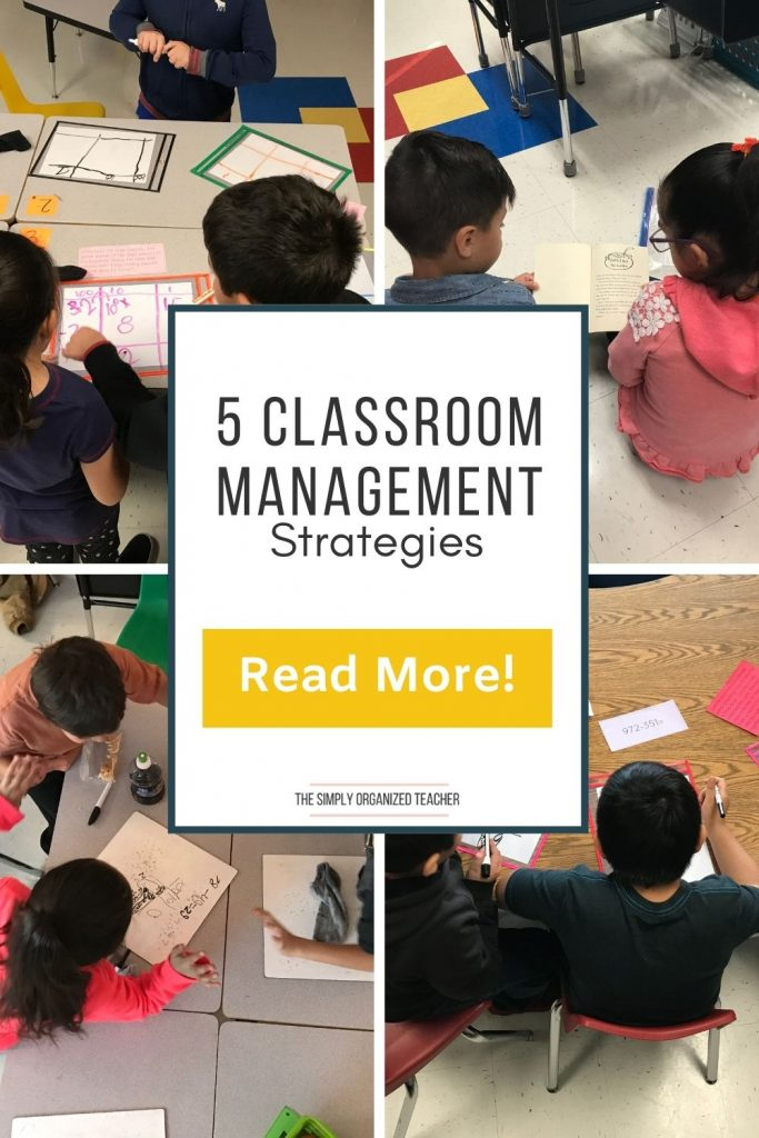 "Collage of photos of students working. Text overlay: ""5 Classroom Management Strategies"" Button: ""Read more"""
