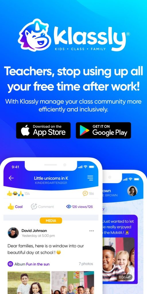 Screenshot of the Klassly app available on Apple App Store and Google Play