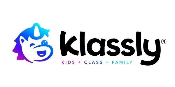 "Unicorn with text ""klassly"" next to it. ""Kids + Class + Family"""