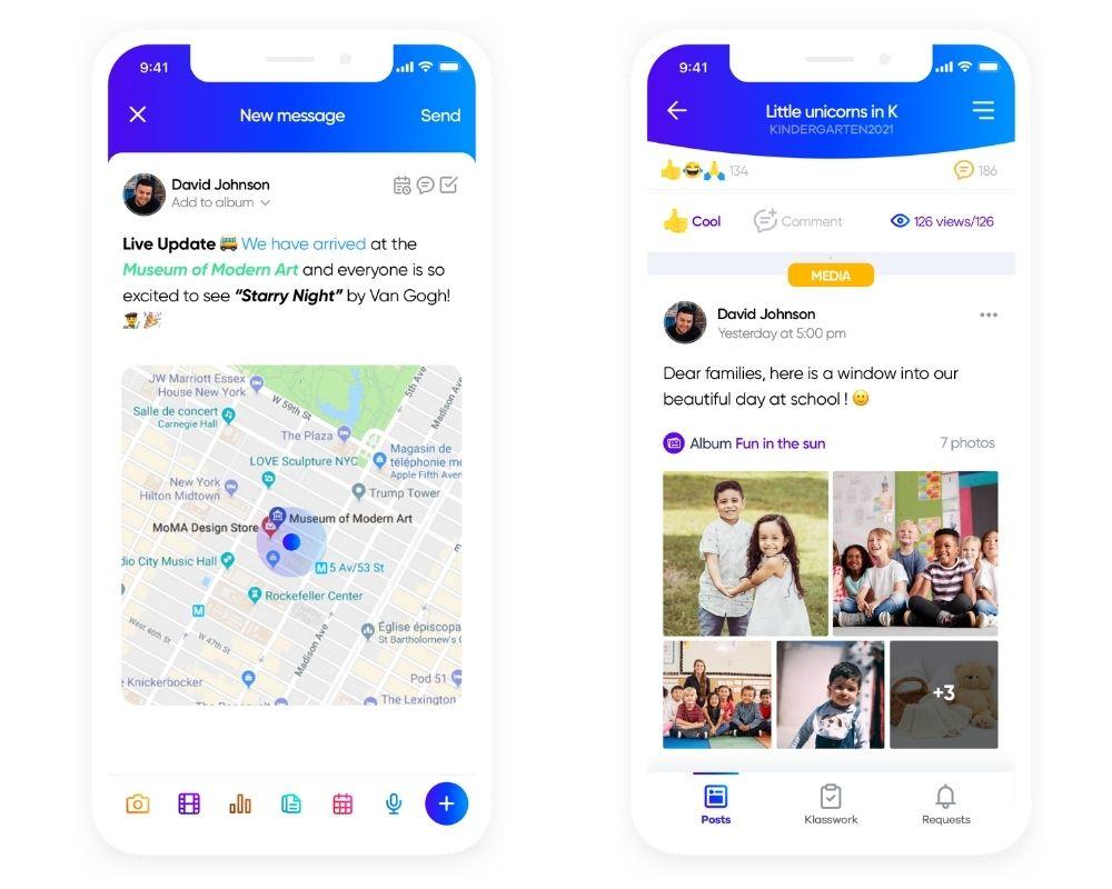 Screenshots of the Klassly app messaging features.