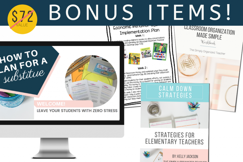 """Screenshot of resources included as bonus items. Text overlay: $72 is crossed out to indicate the price is free. """"Bonus Items"""""""