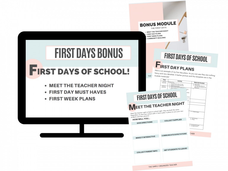 Mock up of resources included in the First Days of School Bonus