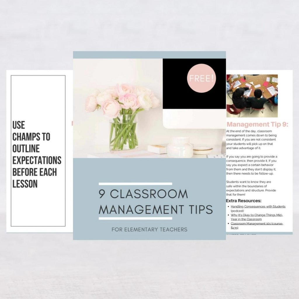 Screenshot of resources included in the 9 classroom management tips download