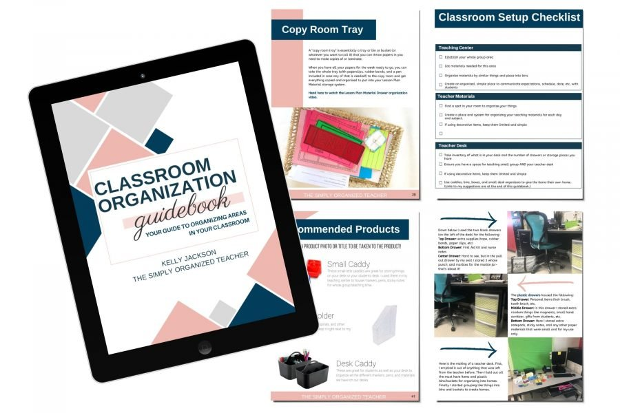 Screenshot of resources included in the Classroom Organization Guidebook