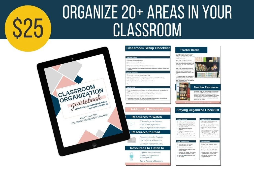 Mockup of classroom organization guidebook.