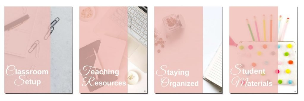 Screenshot of the cover pages of the different sections in the classroom organization guidebook