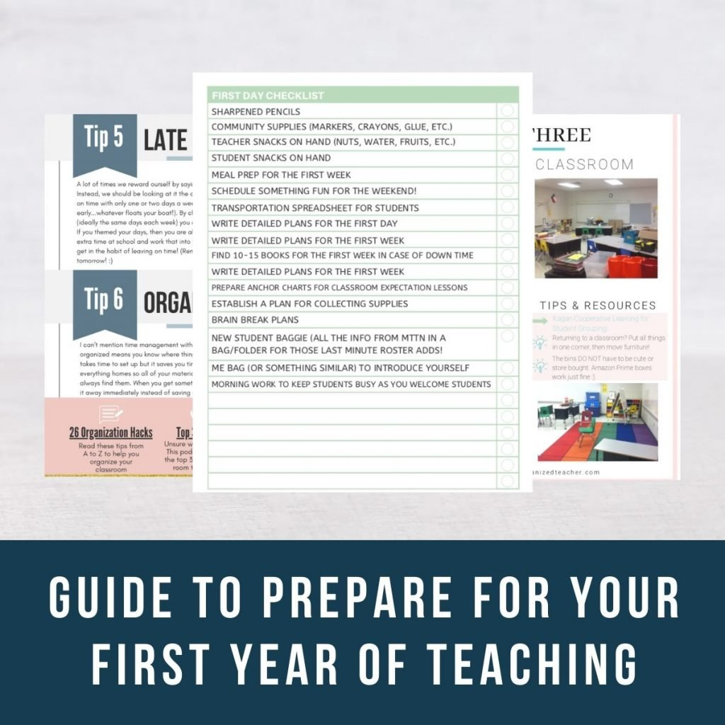 Screenshot of resources included in the first-year teacher email series